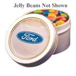 Silver Candy Window Tin with Corporate Color Jelly Beans