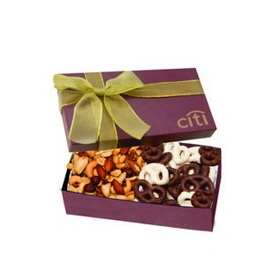 The Executive Chocolate Covered Pretzel & Mixed Nut Box - Burgund 