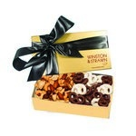 The Executive Chocolate Covered Pretzel & Mixed Nut Box - Gold