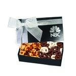 The Executive Chocolate Covered Pretzel & Mixed Nut Box - Black