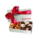 The Executive Chocolate Covered Pretzel & Mixed Nut Box - Silver