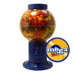 Blue Gumball Machine with Logo and Jelly Beans