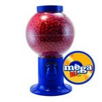 Blue Gumball Machine with Logo and Cinnamon Red Hots