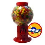 Red Gumball Machine with Logo and Jelly Beans