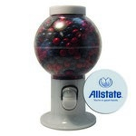 White Gumball Machine with Logo and Corporate Color Chocolates