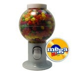 White Gumball Machine with Logo and Jelly Beans