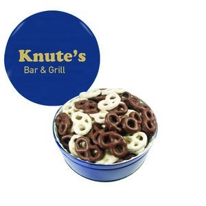 The Grand Tin with Chocolate Covered Mini Pretzels - Blue