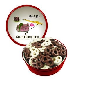 The Grand Tin with Chocolate Covered Mini Pretzels - Red