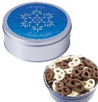 The Grand Tin with Chocolate Covered Mini Pretzels - Snowflake De