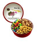 The Grand M&M's, Mixed Nuts, and Caramel Popcorn Gift Tin - Red