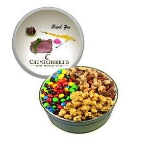The Royal Tin with M&M's, Nuts & Caramel Popcorn - Silver 