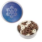The Royal Tin with Chocolate Covered Mini Pretzels - Snowflake De