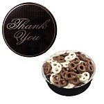 The Royal Tin with Chocolate Covered Mini Pretzels -Thank You Des