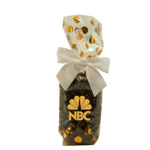 Mug Stuffer Gift Bag with Chocolate Espresso Beans - Gold Dots