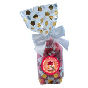 Mug Stuffer Gift Bag with Candy Hearts - Gold Dots