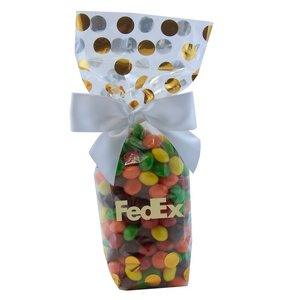 Mug Stuffer Gift Bag with Skittles - Gold Dots