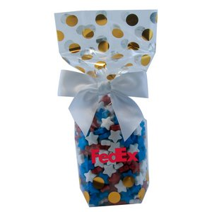 Mug Stuffer Gift Bag with Candy Stars - Gold Dots