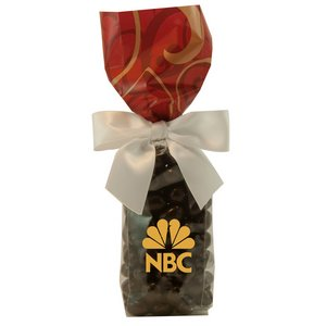 Mug Stuffer Gift Bag with Chocolate Espresso Beans - Red Swirl