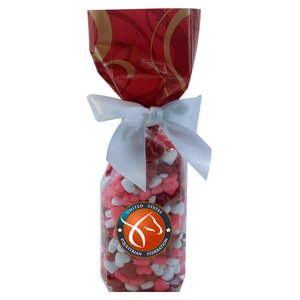 Mug Stuffer Gift Bag with Candy Hearts - Red Swirl 