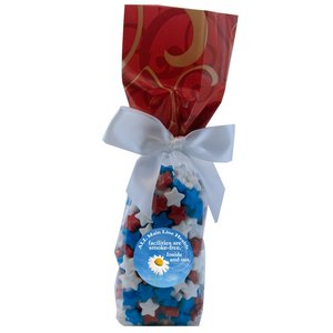 Mug Stuffer Gift Bag with Candy Stars - Red Swirl