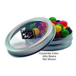 Silver Short Round Tin with Corporate Jelly Beans