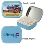 Caffeinated Light Blue Mint Tin filled with caffeinated mints