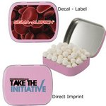 Caffeinated Pink Mint Tin filled with caffeinated mints