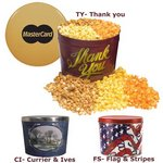Designer Two Gallon Popcorn Tin - Three Flavors, Flag and Streame