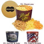 Designer Two Gallon Popcorn Tin - Two Flavors, Flag and Streamers