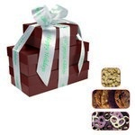 The Four Seasons Gift Tower of Cookies, Pretzels & Nuts- Burgundy