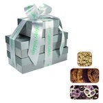 The Four Seasons Gift Tower of Cookies, Pretzels & Nuts- Silver