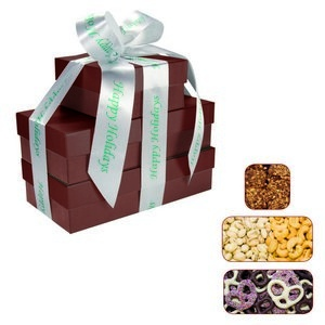 The Four Seasons Gift Tower of Popcorn Pretzels & Nuts Burgundy 