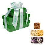 The Four Seasons Gift Tower of Popcorn Pretzels & Nuts- Green
