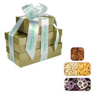 The Four Seasons Gift Tower of Popcorn Pretzels & Nuts- Gold
