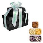 The Four Seasons Gift Tower of Popcorn Pretzels & Nuts - Black