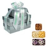 The Four Seasons Gift Tower of Popcorn Pretzels & Nuts- Silver