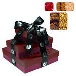 The Fifth Avenue Gift Tower of Cookies, Popcorn & Candy- Burgundy