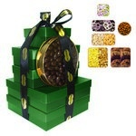 The Imperial Gift Tower - Cookies, Nuts, Pretzels, Candy - Green