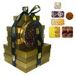 The Imperial Gift Tower - Cookies, Nuts, Pretzels, Candy - Gold