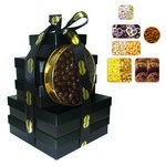 The Imperial Gift Tower - Cookies, Nuts, Pretzels, Candy - Black