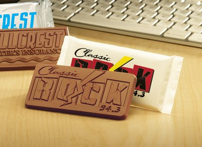 Custom Chocolate Candy Bar in Cello Wrapper (1 Color) 2x4 inches