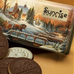 Logo Chocolate Cookies in Festive Winter Scene Tin 8 Cookies