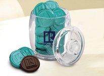 Small Acrylic Jar with 20 Chocolate Coins
