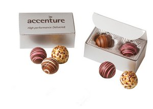 Chocolate Truffles Gift Box of 2 with Optional Logo Imprint