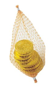 Stock Chocolate Molded Coins in Mesh Nets