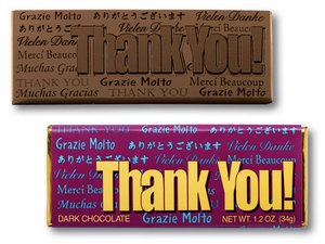 Thank You Wrapper Bars-Dark Chocolate - Stock