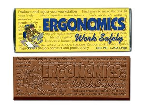 Ergonomics-Work Safely Chocolate Bar - Stock