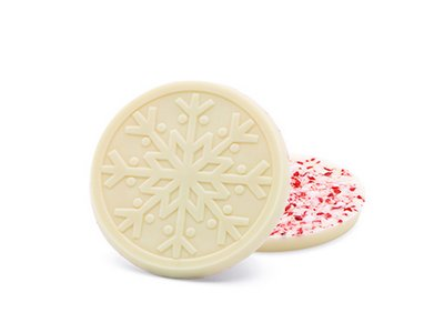 White Chocolate Snowflake with Candy Cane - Stock