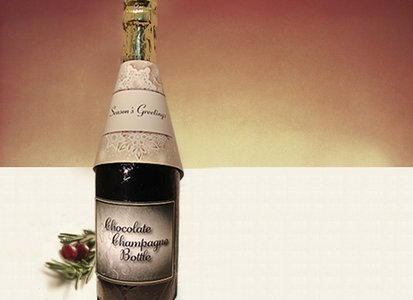 Seasons Greetings Champagne Bottle - Stock No Logo