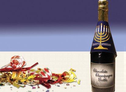 Hanukkah Champagne Bottle - Stock No Logo